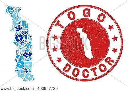 Vector Mosaic Togo Map With Dose Icons, Analysis Symbols, And Grunge Health Care Rubber Imitation. R