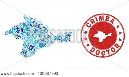Vector Mosaic Crimea Map With Syringe Icons, Laboratory Symbols, And Grunge Healthcare Imprint. Red
