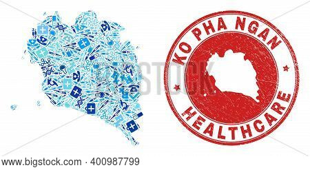 Vector Mosaic Ko Pha Ngan Map Of Treatment Icons, Hospital Symbols, And Grunge Health Care Seal. Red