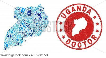 Vector Mosaic Uganda Map With Injection Icons, Test Symbols, And Grunge Healthcare Imprint. Red Roun
