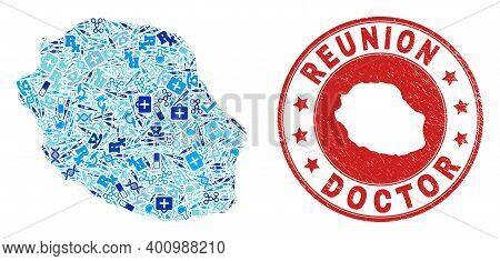 Vector Mosaic Reunion Island Map With Vaccine Icons, Receipt Symbols, And Grunge Doctor Seal Stamp.