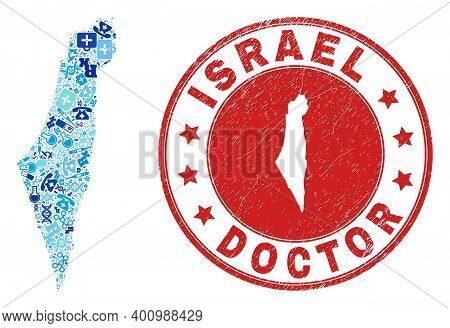 Vector Mosaic Israel Map With Treatment Icons, Labs Symbols, And Grunge Health Care Seal. Red Round
