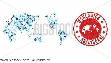 Vector Mosaic Worldwide Map With Vaccine Icons, Hospital Symbols, And Grunge Healthcare Rubber Imita