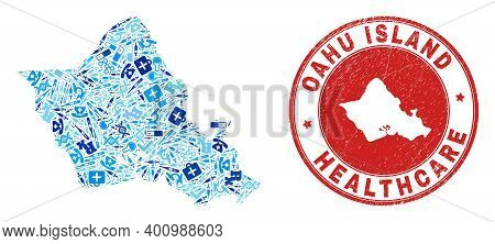 Vector Mosaic Oahu Island Map With Treatment Icons, Hospital Symbols, And Grunge Health Care Seal. R