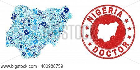Vector Mosaic Nigeria Map With Healthcare Icons, Laboratory Symbols, And Grunge Healthcare Seal. Red