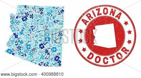 Vector Collage Arizona State Map Of Syringe Icons, Medicine Symbols, And Grunge Health Care Seal Sta