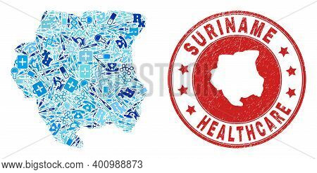 Vector Collage Suriname Map With Dose Icons, Receipt Symbols, And Grunge Healthcare Seal. Red Round