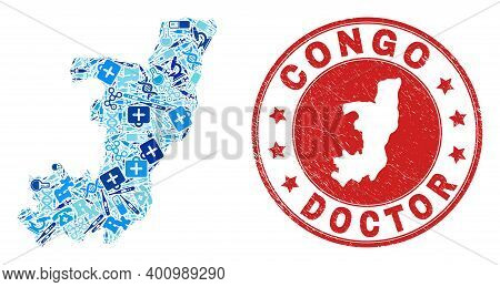 Vector Collage Republic Of The Congo Map Of Dose Icons, Labs Symbols, And Grunge Doctor Watermark. R