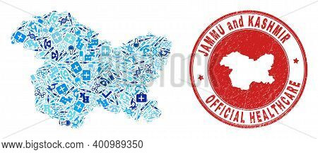 Vector Collage Jammu And Kashmir State Map With Vaccine Icons, Medicine Symbols, And Grunge Doctor S