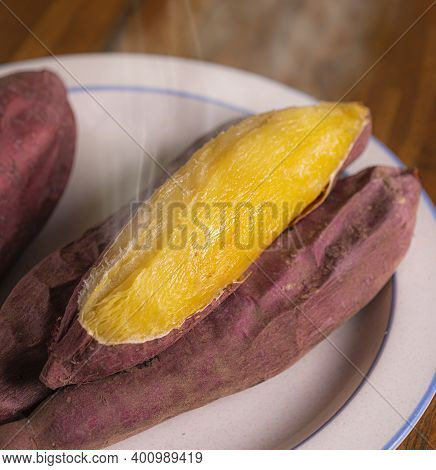 Japan Roasted Sweet Potato (yaki imo) on white plate
