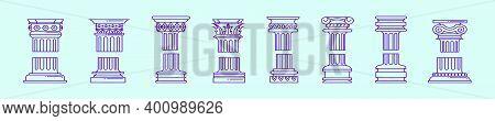 Set Of Roman Pillar Cartoon Icon Design Template With Various Models. Modern Vector Illustration Iso