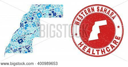 Vector Mosaic Western Sahara Map Of Injection Icons, Test Symbols, And Grunge Health Care Stamp. Red