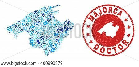Vector Mosaic Majorca Map With Healthcare Icons, Medicine Symbols, And Grunge Healthcare Imprint. Re