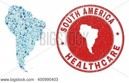 Vector Collage South America Map With Dose Icons, Hospital Symbols, And Grunge Doctor Stamp. Red Rou