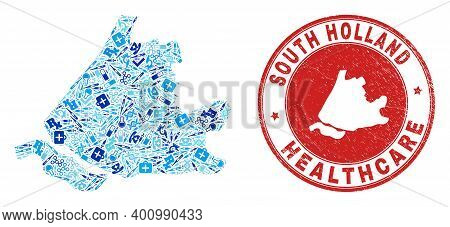 Vector Mosaic South Holland Map With Healthcare Icons, Analysis Symbols, And Grunge Healthcare Water