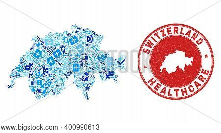 Vector Mosaic Switzerland Map With Medical Icons, Chemical Symbols, And Grunge Doctor Imprint. Red R