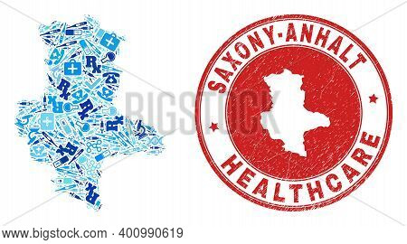 Vector Collage Saxony-anhalt Land Map With Vaccination Icons, Test Symbols, And Grunge Doctor Seal.