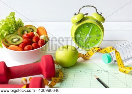 Diet Health Plan.start Up Workout Planing. Sport Exercise Equipment Workout Andgym With Nutrition F