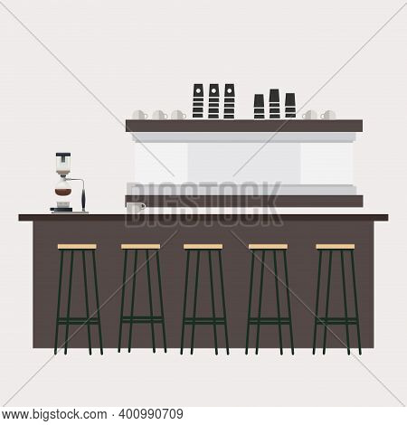 Empty Bar Counter, Barista Workplace. Vector Professional Cafeteria, Barista Counter In Nightclub, R