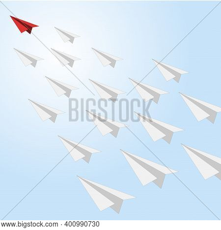 Business Leader Aiming Forward, Red Paper Plane Boss. Business Follow Leader, Teamwork And Competiti