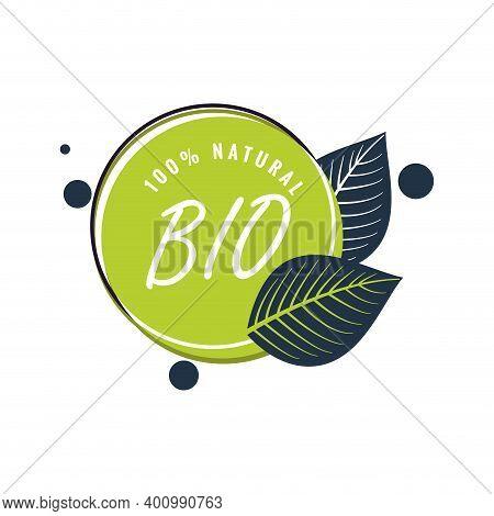 Bio Natural Product Label, Green Badge With Leaf. Warranty Eco Food, Sticker Bio And Eco Veggie, Hea