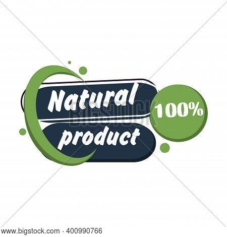 Natural Product Label Badge Green. Vector Veggie Packaging, Health Eco Badge, Farm Sticker Illustrat