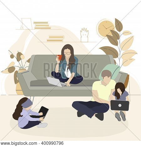 Family Spend Time With Gadgets Smartphone Laptop Or Tablet. Together Addiction And Dependence, Watch