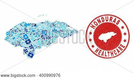 Vector Collage Honduras Map With Vaccination Icons, Receipt Symbols, And Grunge Healthcare Imprint.