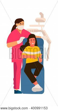 Dentist And Patient. Cartoon Scene In Dental Clinic. Woman Sitting In Special Armchair, Doctor Prepa