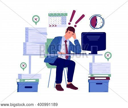 Stressed Worker. Burnout Cartoon Character Worried About Deadline. Frustrated And Anxiety Employee.