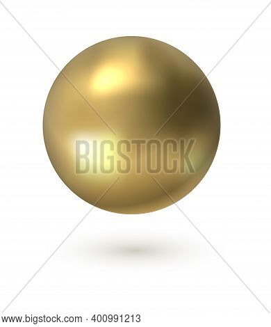Golden Circle. Realistic 3d Sphere. Gold Smooth Surface With Light Reflection Effect. Floating Gloss