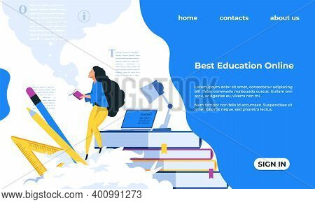 Online Education Landing Page. Cartoon People Studying Distantly. Web Educational Courses, Learning