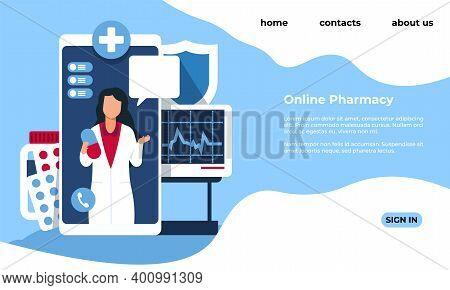 Online Pharmacy Landing Page. Medical Website Template. Drugstore Web Service. Modern Interface Desi