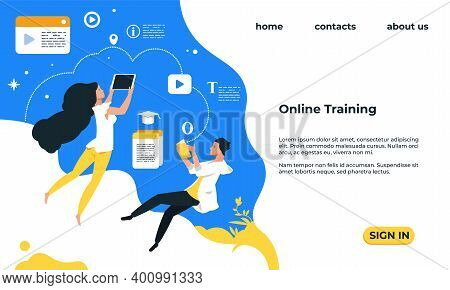Online Training Landing Page. Web Service With Video Courses. Educational Lessons, People Study Dist