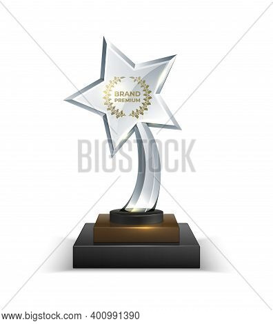 Trophies. Realistic Crystal Glass Award With Text. 3d Star Shaped Prize With Golden Text And Olive W