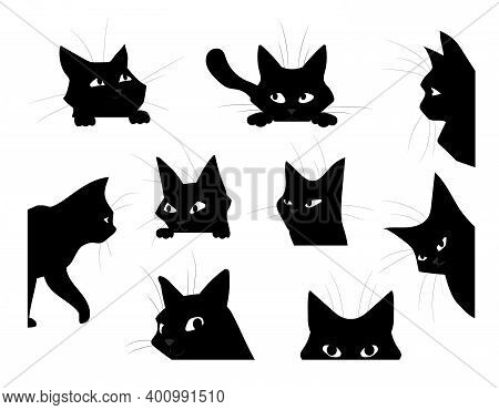 Funny Looking Cat. Cartoon Black Pet Silhouette, Cute Kitten Playing And Spying Or Hunting. Isolated