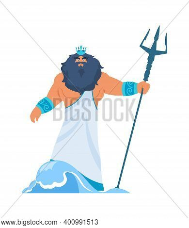 Poseidon Or Neptune. Greek God. Cartoon Bearded Man In Toga And Crown With Trident. Lord Of Water Or