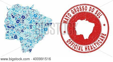 Vector Mosaic Mato Grosso Do Sul State Map With Dose Icons, Hospital Symbols, And Grunge Healthcare