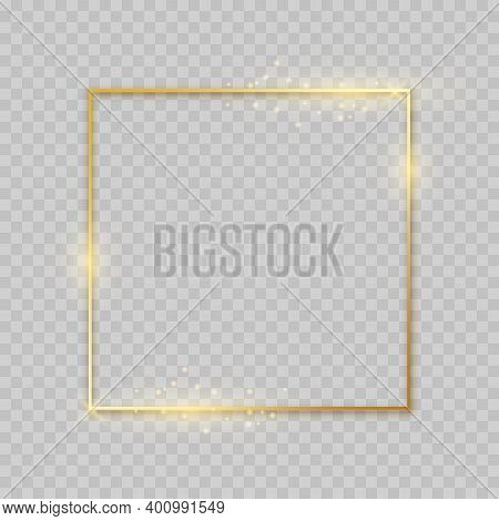 Shiny Square Golden Frame. Decoration Border With Glitter. Glowing Gold Lines And Flare On Transpare
