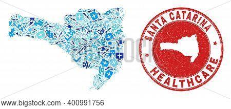 Vector Mosaic Santa Catarina State Map With Syringe Icons, Labs Symbols, And Grunge Health Care Rubb