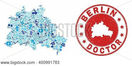 Vector Mosaic Berlin City Map Of Healthcare Icons, Medicine Symbols, And Grunge Health Care Seal Sta