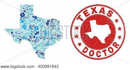 Vector Mosaic Texas State Map Of Vaccination Icons, Medicine Symbols, And Grunge Healthcare Seal Sta