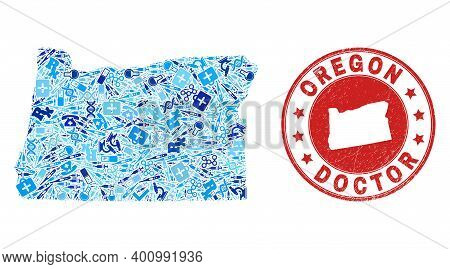 Vector Mosaic Oregon State Map Of Inoculation Icons, Test Symbols, And Grunge Doctor Rubber Imitatio