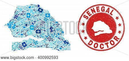 Vector Collage Senegal Map Of Vaccine Icons, Receipt Symbols, And Grunge Healthcare Seal Stamp. Red