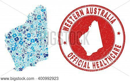 Vector Collage Western Australia Map With Medical Icons, Laboratory Symbols, And Grunge Health Care