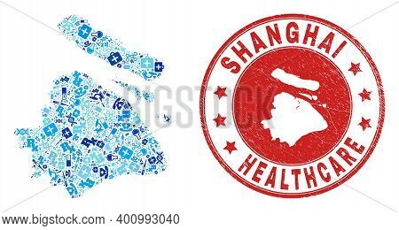 Vector Mosaic Shanghai City Map With Treatment Icons, Medicine Symbols, And Grunge Health Care Stamp