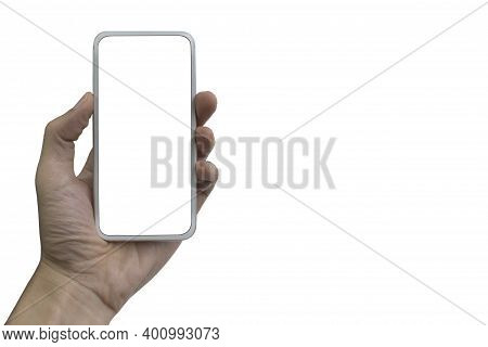 Hand Holding Phone Mobile Isolated On White Background
