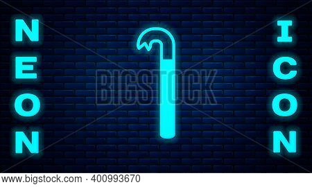 Glowing Neon Crowbar Icon Isolated On Brick Wall Background. Vector Illustration
