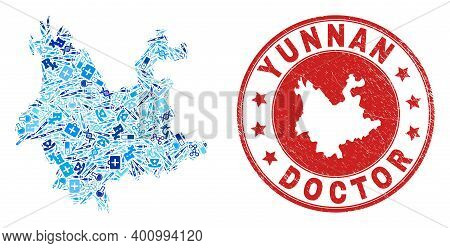 Vector Collage Yunnan Province Map With Healthcare Icons, Chemical Symbols, And Grunge Health Care I