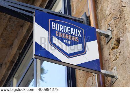 Bordeaux , Aquitaine  France - 12 19 2020 : Fc Girondins De Bordeaux Logo And Brand Sign Text For So